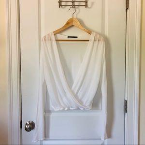 TWENTY MONTREAL White Modal & Cashmere Wrap Top M